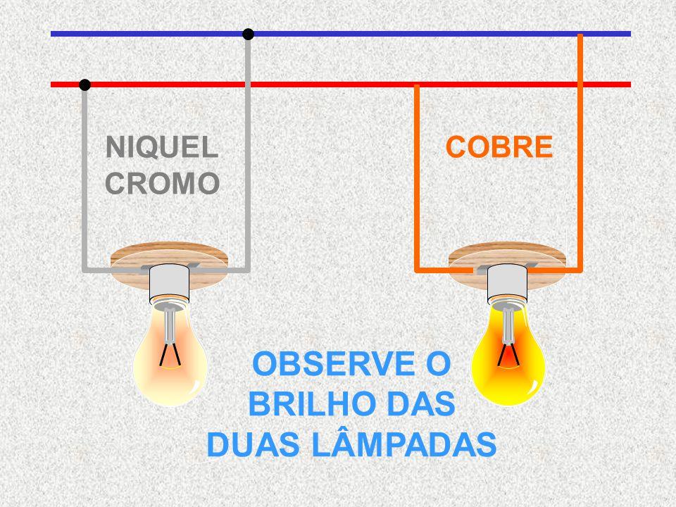 NIQUEL CROMO COBRE OBSERVE O BRILHO DAS DUAS LÂMPADAS