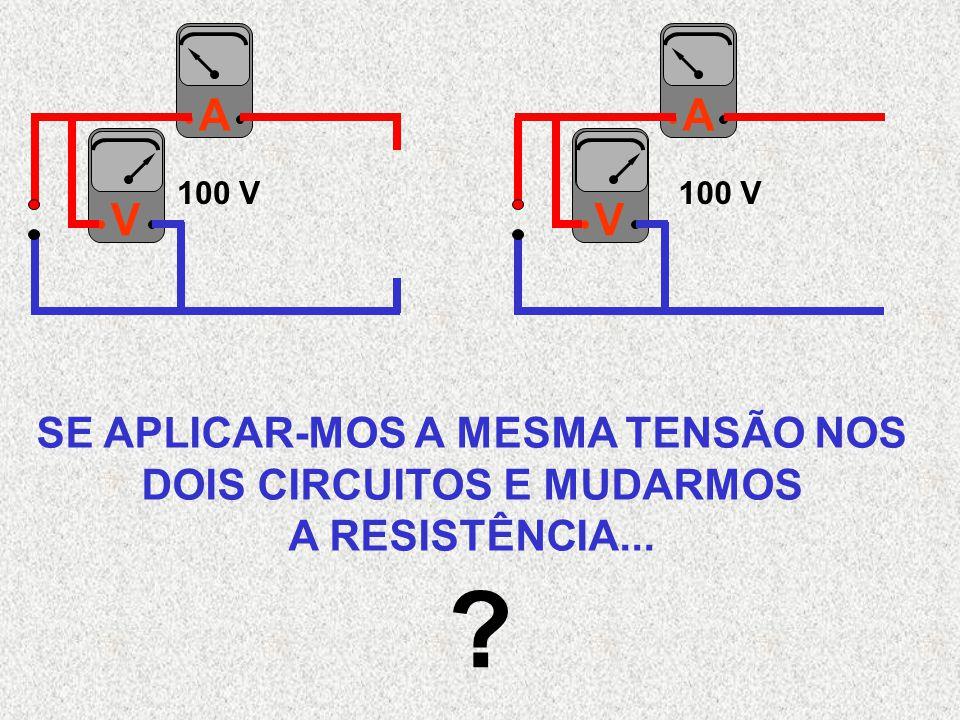 AVAV SE APLICAR-MOS A MESMA TENSÃO NOS DOIS CIRCUITOS E MUDARMOS A RESISTÊNCIA... ? 100 V