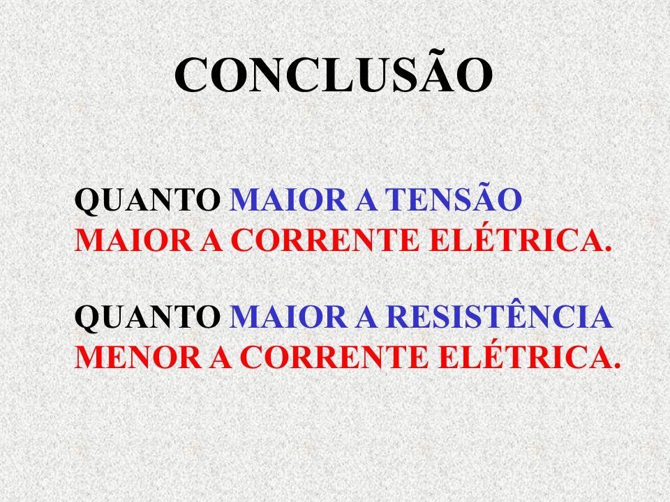 QUANTO MAIOR A TENSÃO MAIOR A CORRENTE ELÉTRICA.