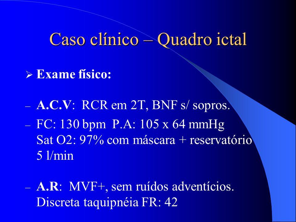 Caso clínico – Quadro ictal  Exame físico: – A.C.V: RCR em 2T, BNF s/ sopros. – FC: 130 bpm P.A: 105 x 64 mmHg Sat O2: 97% com máscara + reservatório