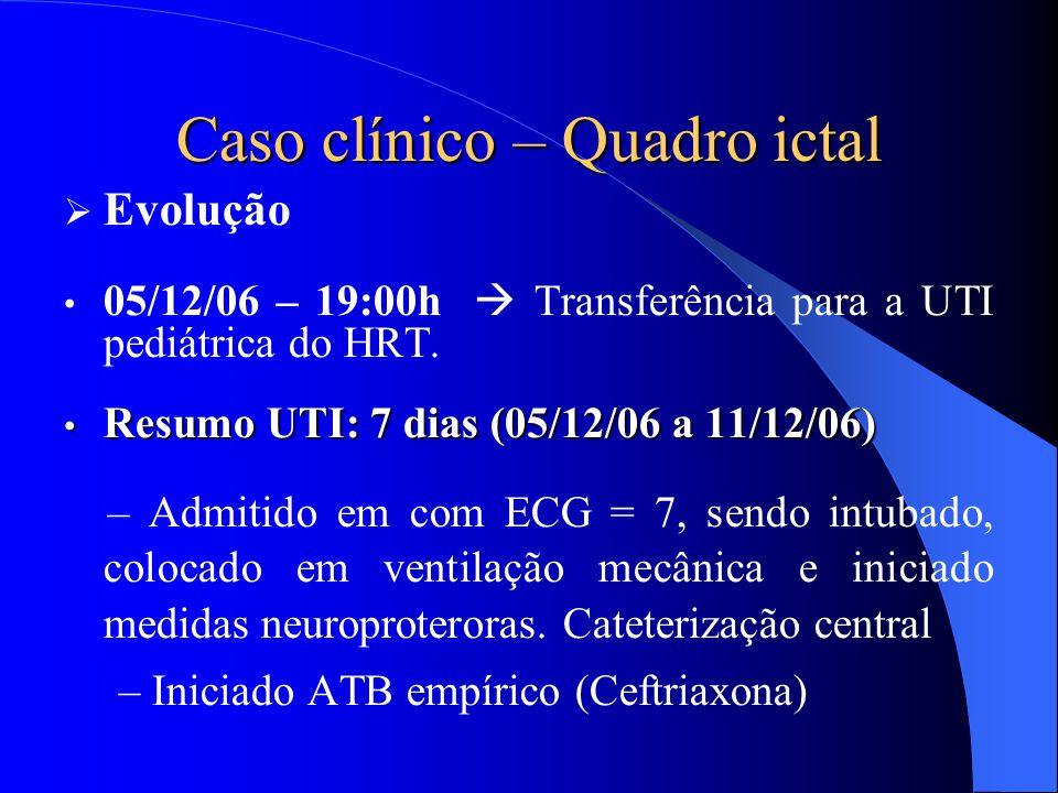 Caso clínico – Quadro ictal  Evolução 05/12/06 – 19:00h  Transferência para a UTI pediátrica do HRT. Resumo UTI: 7 dias (05/12/06 a 11/12/06) Resumo