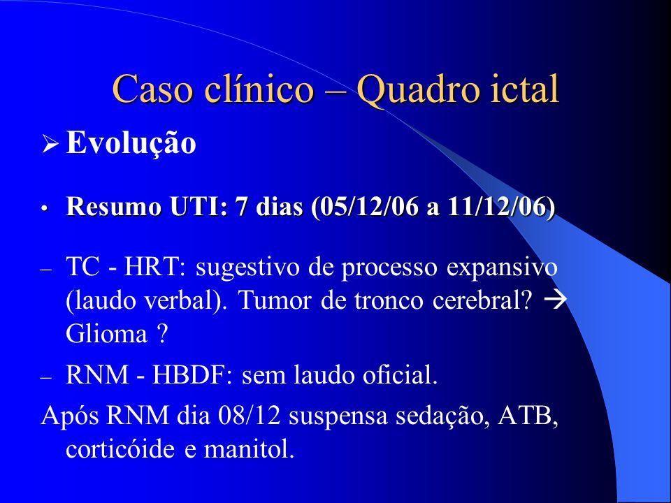 Caso clínico – Quadro ictal  Evolução Resumo UTI: 7 dias (05/12/06 a 11/12/06) Resumo UTI: 7 dias (05/12/06 a 11/12/06) – TC - HRT: sugestivo de proc