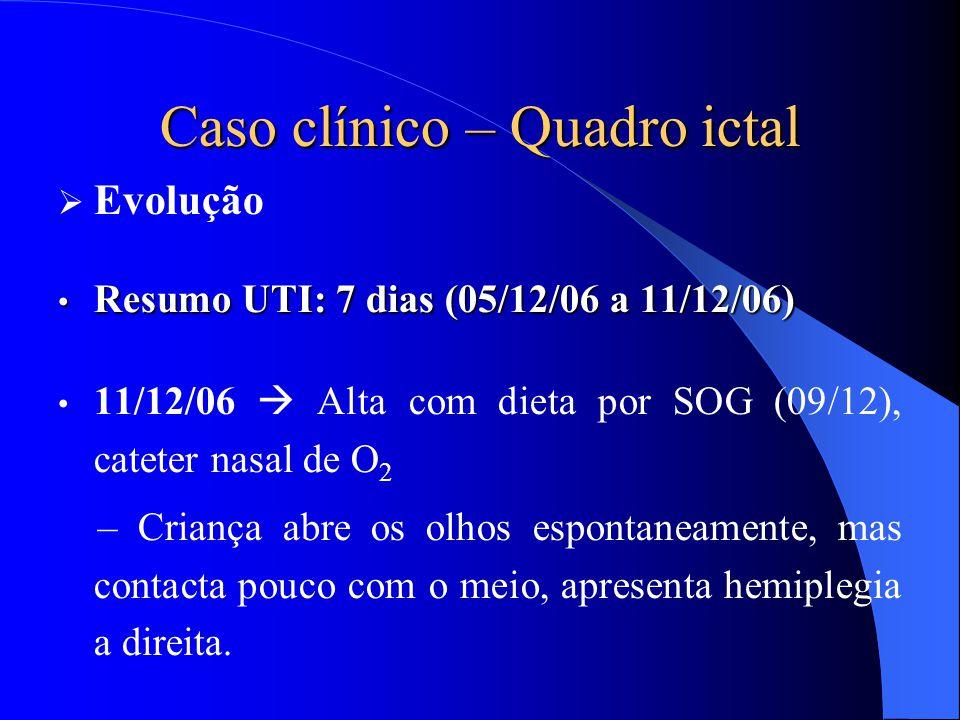 Caso clínico – Quadro ictal  Evolução Resumo UTI: 7 dias (05/12/06 a 11/12/06) Resumo UTI: 7 dias (05/12/06 a 11/12/06) 11/12/06  Alta com dieta por