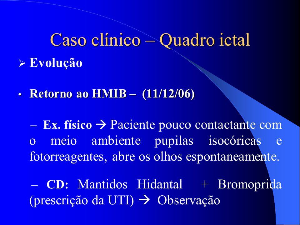 Caso clínico – Quadro ictal  Evolução Retorno ao HMIB – (11/12/06) Retorno ao HMIB – (11/12/06) – Ex. físico  Paciente pouco contactante com o meio