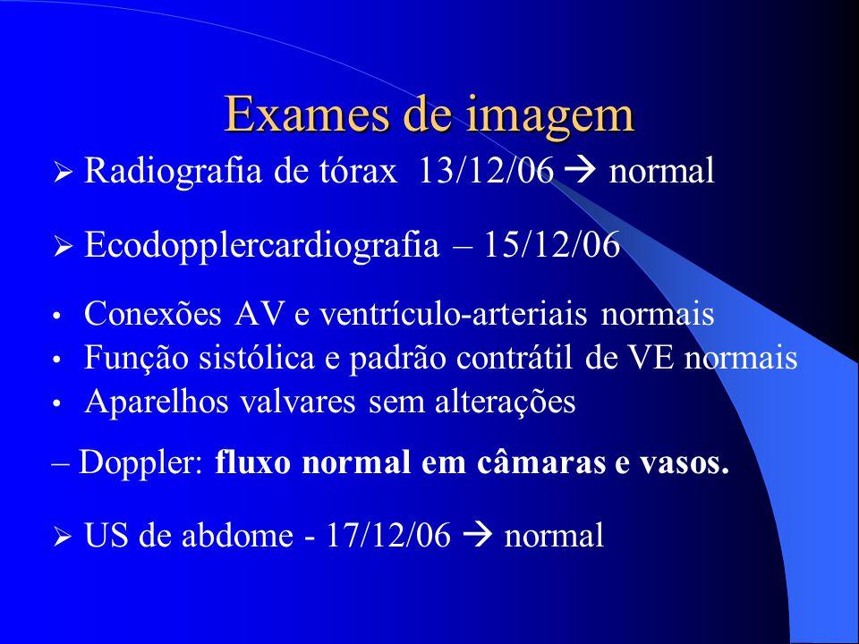 Exames de imagem  Radiografia de tórax 13/12/06  normal  Ecodopplercardiografia – 15/12/06 Conexões AV e ventrículo-arteriais normais Função sistól