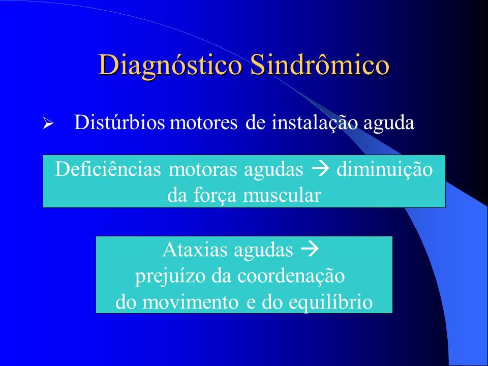 Diagnóstico Sindrômico  Distúrbios motores de instalação aguda Deficiências motoras agudas  diminuição da força muscular Ataxias agudas  prejuízo d