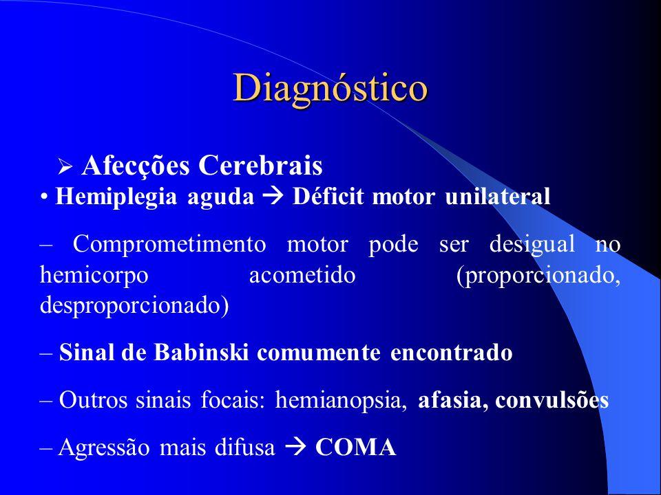 Diagnóstico  Afecções Cerebrais Hemiplegia aguda  Déficit motor unilateral – Comprometimento motor pode ser desigual no hemicorpo acometido (proporc