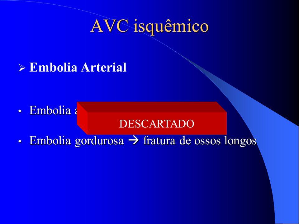 AVC isquêmico  Embolia Arterial Embolia aérea  cirurgia Embolia aérea  cirurgia Embolia gordurosa  fratura de ossos longos Embolia gordurosa  fra