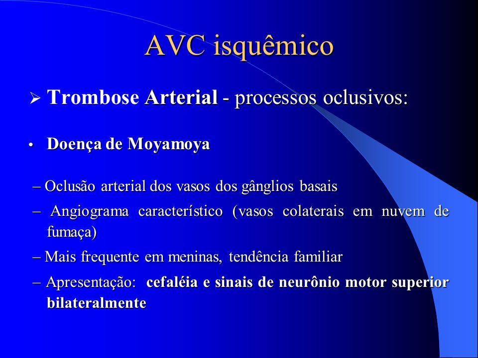 AVC isquêmico Arterial - processos oclusivos:  Trombose Arterial - processos oclusivos: Doença de Moyamoya Doença de Moyamoya – Oclusão arterial dos