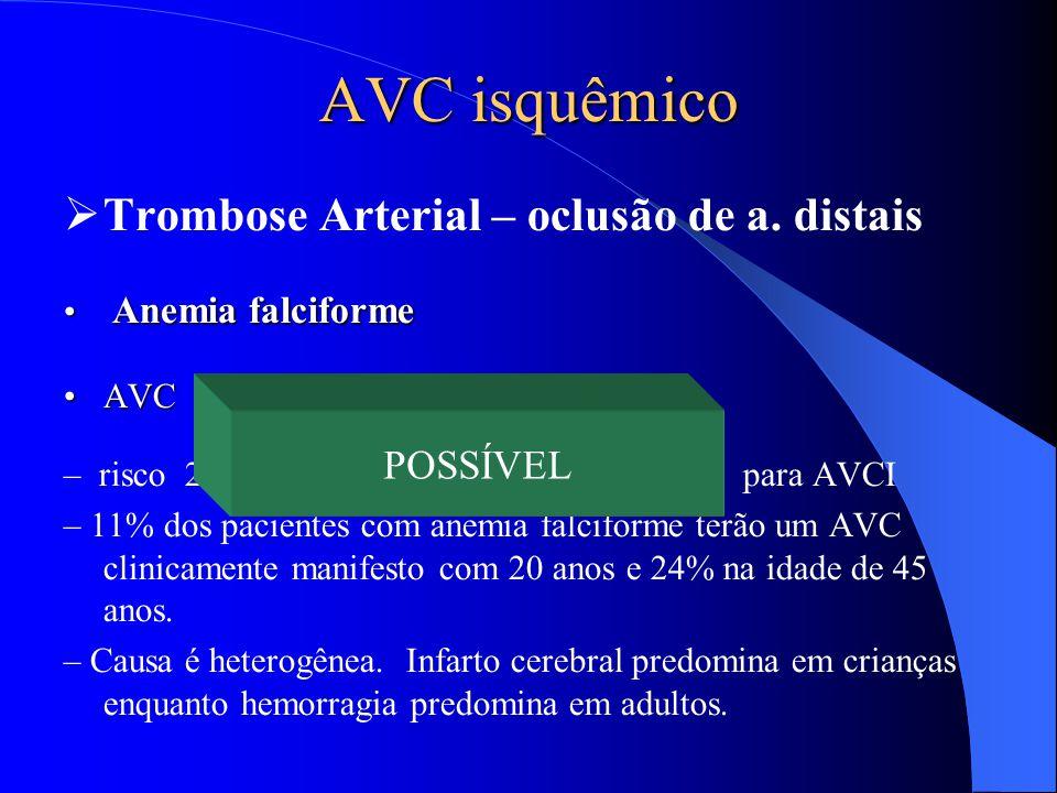 AVC isquêmico  Trombose Arterial – oclusão de a. distais Anemia falciforme Anemia falciforme AVCAVC – risco 221 vezes > para AVC e 410 vezes > para A