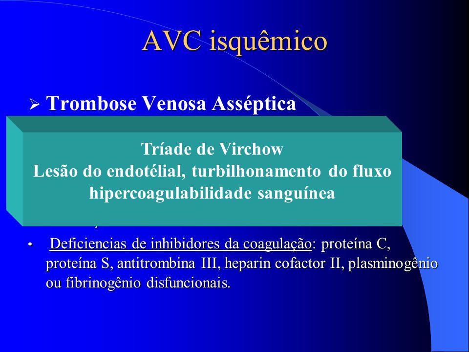 AVC isquêmico  Trombose Venosa Asséptica Desidratação severa na infância Desidratação severa na infância Condições resultando em hipercoagulabilidade