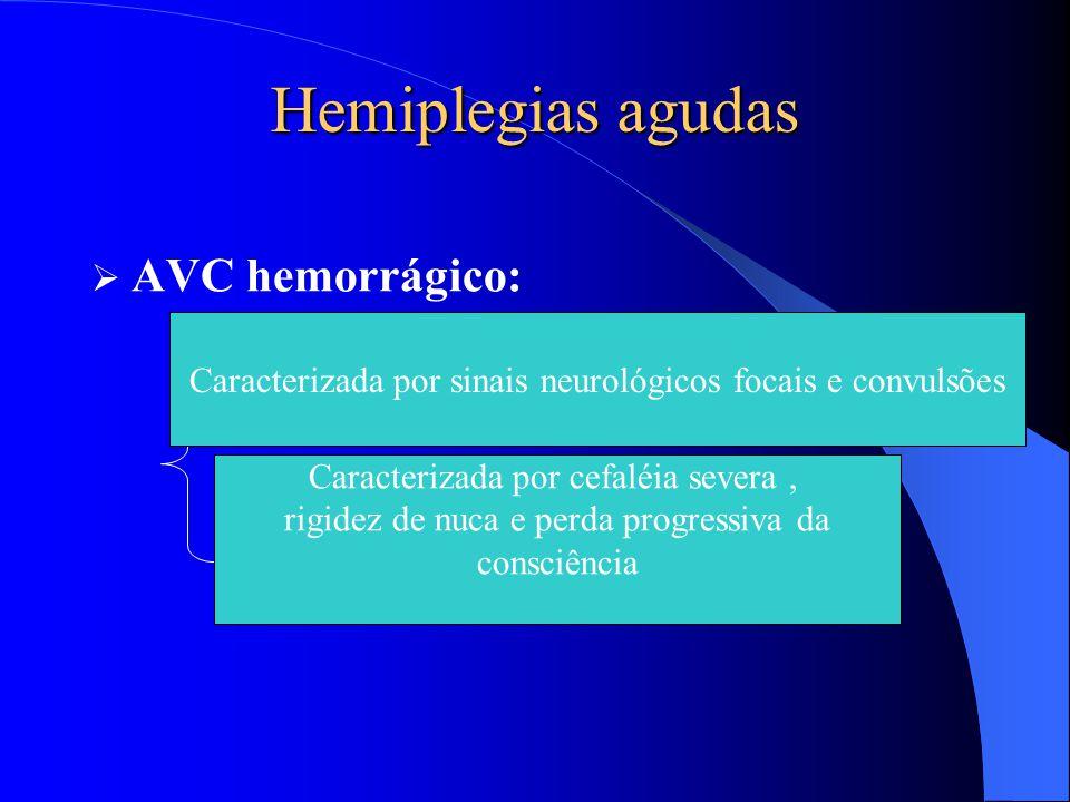 Hemiplegias agudas  AVC hemorrágico: Hemorragia subaracnóidea Hemorragia intra-parenquimatosa Caracterizada por cefaléia severa, rigidez de nuca e pe