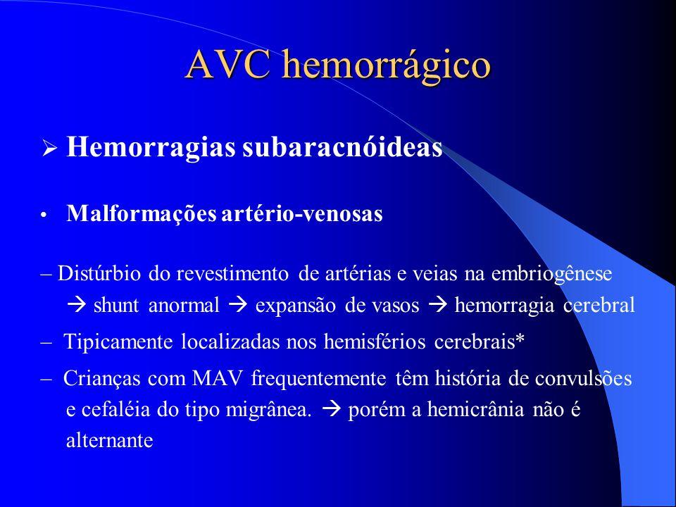 AVC hemorrágico  Hemorragias subaracnóideas Malformações artério-venosas – Distúrbio do revestimento de artérias e veias na embriogênese  shunt anor