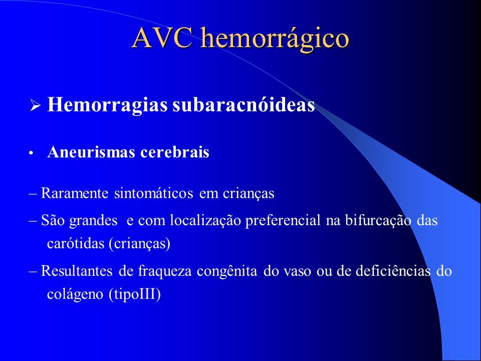 AVC hemorrágico  Hemorragias subaracnóideas Aneurismas cerebrais – Raramente sintomáticos em crianças – São grandes e com localização preferencial na