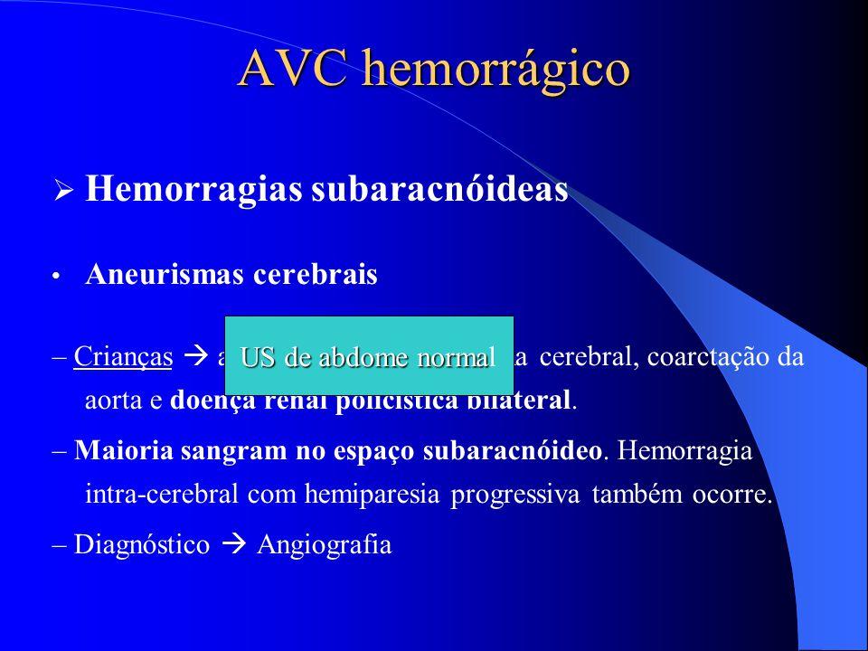 AVC hemorrágico  Hemorragias subaracnóideas Aneurismas cerebrais – Crianças  associação entre aneurisma cerebral, coarctação da aorta e doença renal