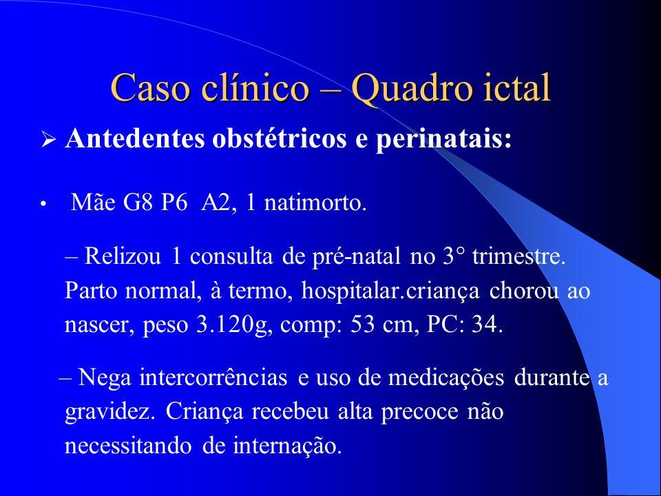 Caso clínico – Quadro ictal  Antedentes obstétricos e perinatais: Mãe G8 P6 A2, 1 natimorto. – Relizou 1 consulta de pré-natal no 3° trimestre. Parto