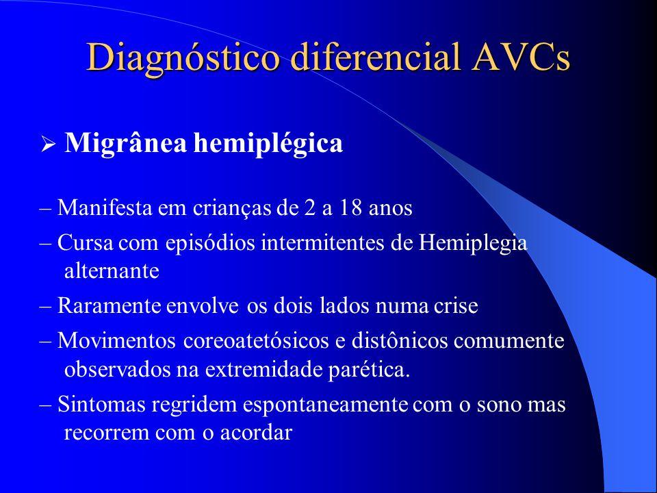 Diagnóstico diferencial AVCs  Migrânea hemiplégica – Manifesta em crianças de 2 a 18 anos – Cursa com episódios intermitentes de Hemiplegia alternant