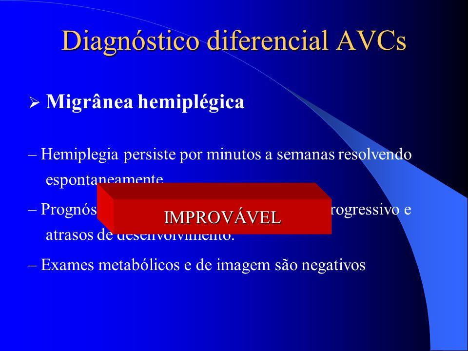 Diagnóstico diferencial AVCs  Migrânea hemiplégica – Hemiplegia persiste por minutos a semanas resolvendo espontaneamente – Prognóstico sombrio com r