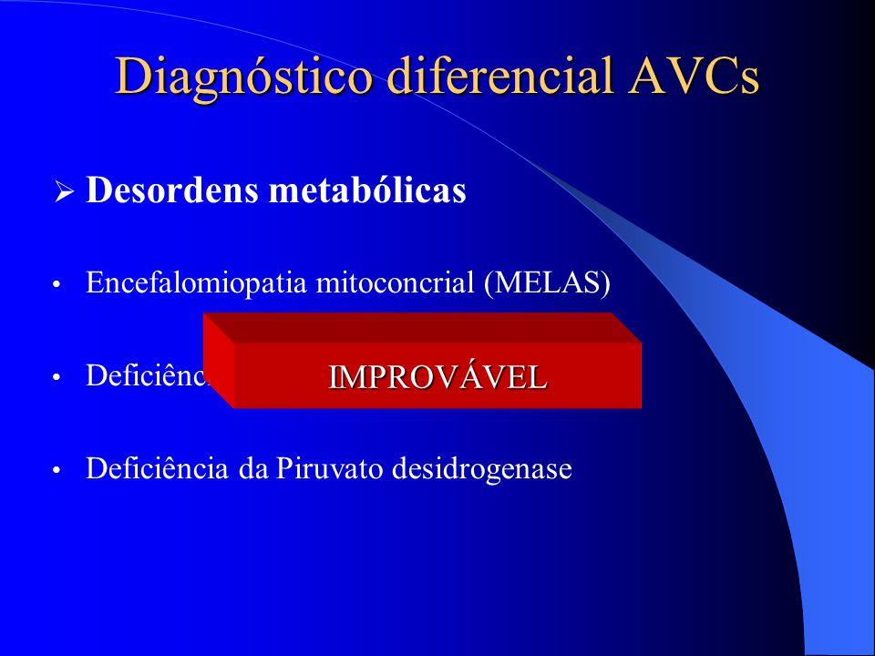Diagnóstico diferencial AVCs  Desordens metabólicas Encefalomiopatia mitoconcrial (MELAS) Deficiência da Ornitina transcarbamilase Deficiência da Pir