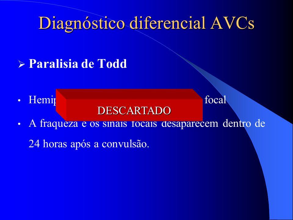 Diagnóstico diferencial AVCs  Paralisia de Todd Hemiparesia seguindo uma convulsão focal A fraqueza e os sinais focais desaparecem dentro de 24 horas