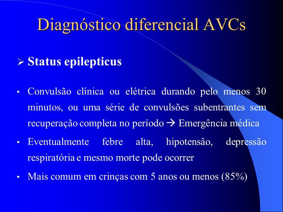 Diagnóstico diferencial AVCs  Status epilepticus Convulsão clínica ou elétrica durando pelo menos 30 minutos, ou uma série de convulsões subentrantes