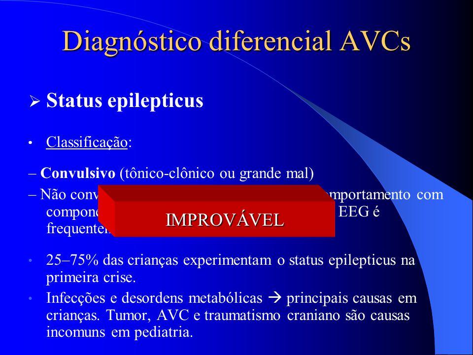 Diagnóstico diferencial AVCs  Status epilepticus Classificação: – Convulsivo (tônico-clônico ou grande mal) – Não convulsivo (estado mental alterado