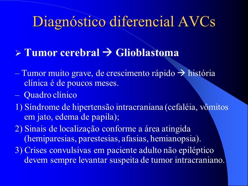 Diagnóstico diferencial AVCs  Tumor cerebral  Glioblastoma – Tumor muito grave, de crescimento rápido  história clínica é de poucos meses. – Quadro