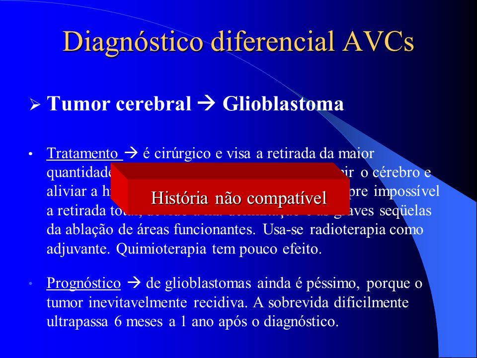 Diagnóstico diferencial AVCs  Tumor cerebral  Glioblastoma Tratamento  é cirúrgico e visa a retirada da maior quantidade possível de tumor para des