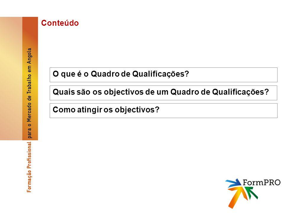 O que é o Quadro de Qualificações. Conteúdo Quais são os objectivos de um Quadro de Qualificações.