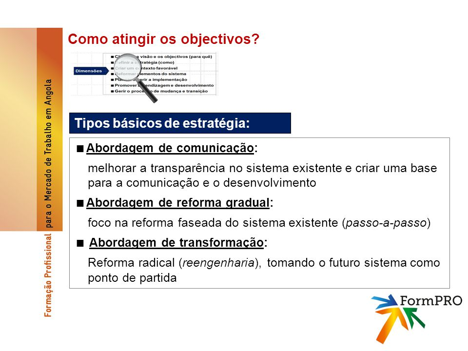 Como atingir os objectivos.Reformar elementos do sistema, p.