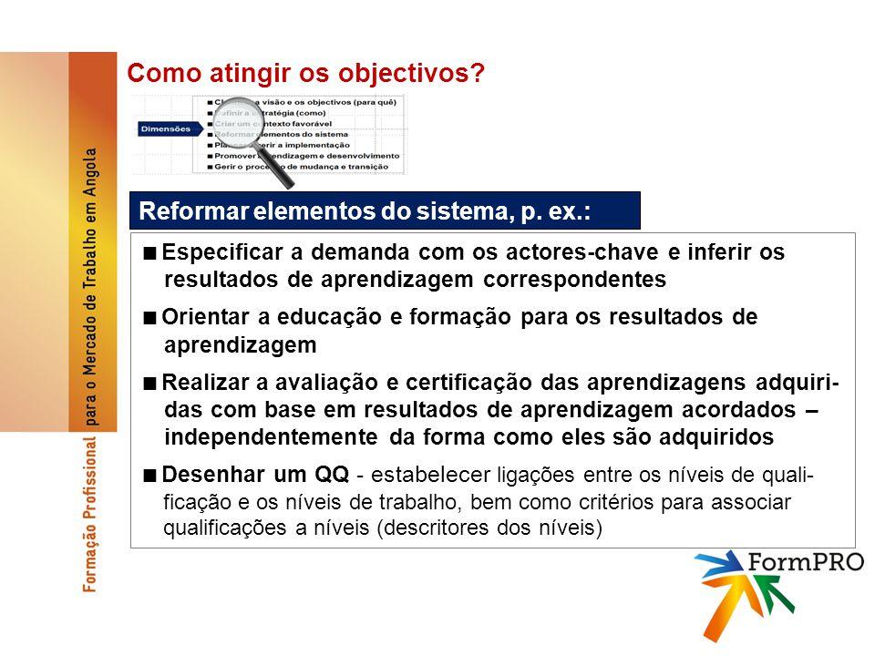 Como atingir os objectivos. Reformar elementos do sistema, p.