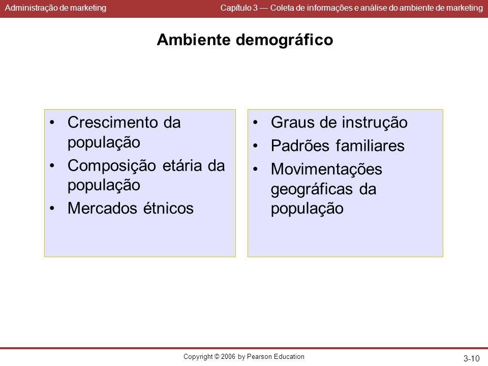 Administração de marketingCapítulo 3 — Coleta de informações e análise do ambiente de marketing Copyright © 2006 by Pearson Education 3-10 Ambiente de