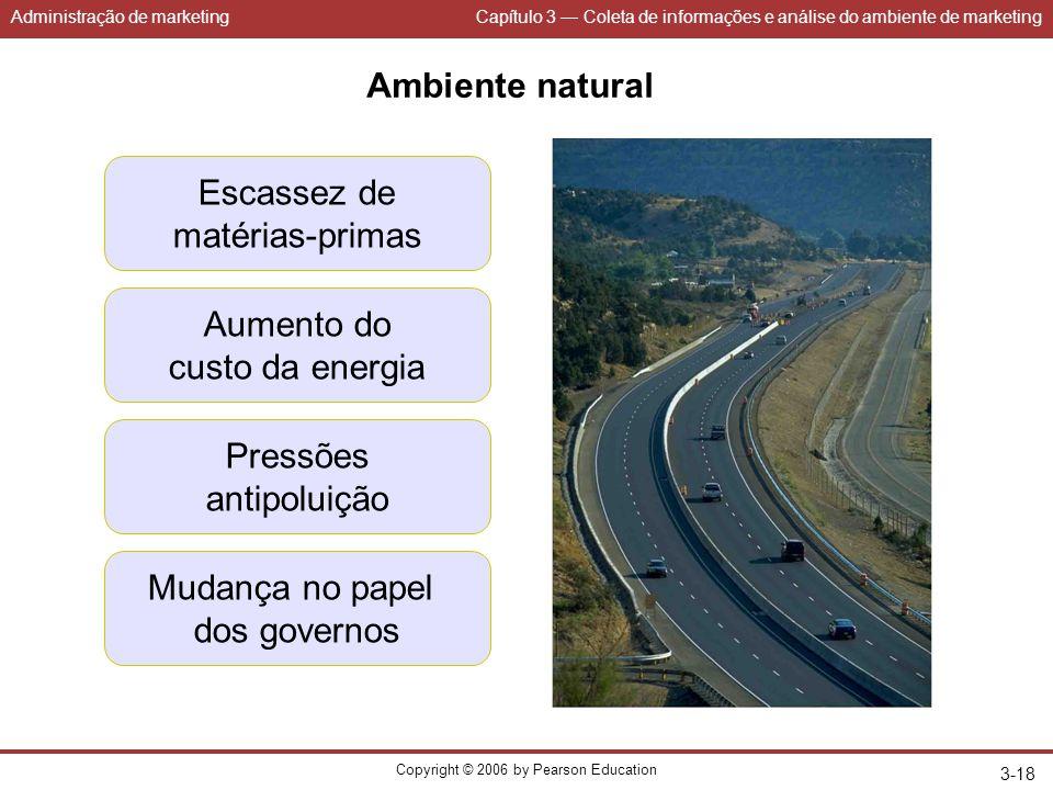 Administração de marketingCapítulo 3 — Coleta de informações e análise do ambiente de marketing Copyright © 2006 by Pearson Education 3-18 Ambiente na