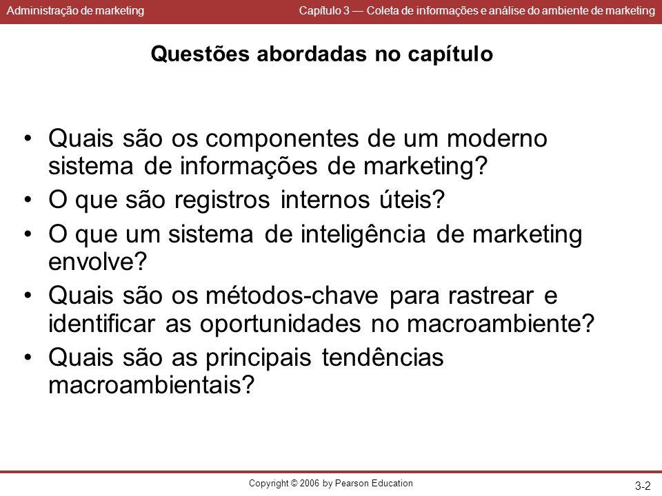 Administração de marketingCapítulo 3 — Coleta de informações e análise do ambiente de marketing Copyright © 2006 by Pearson Education 3-2 Questões abo