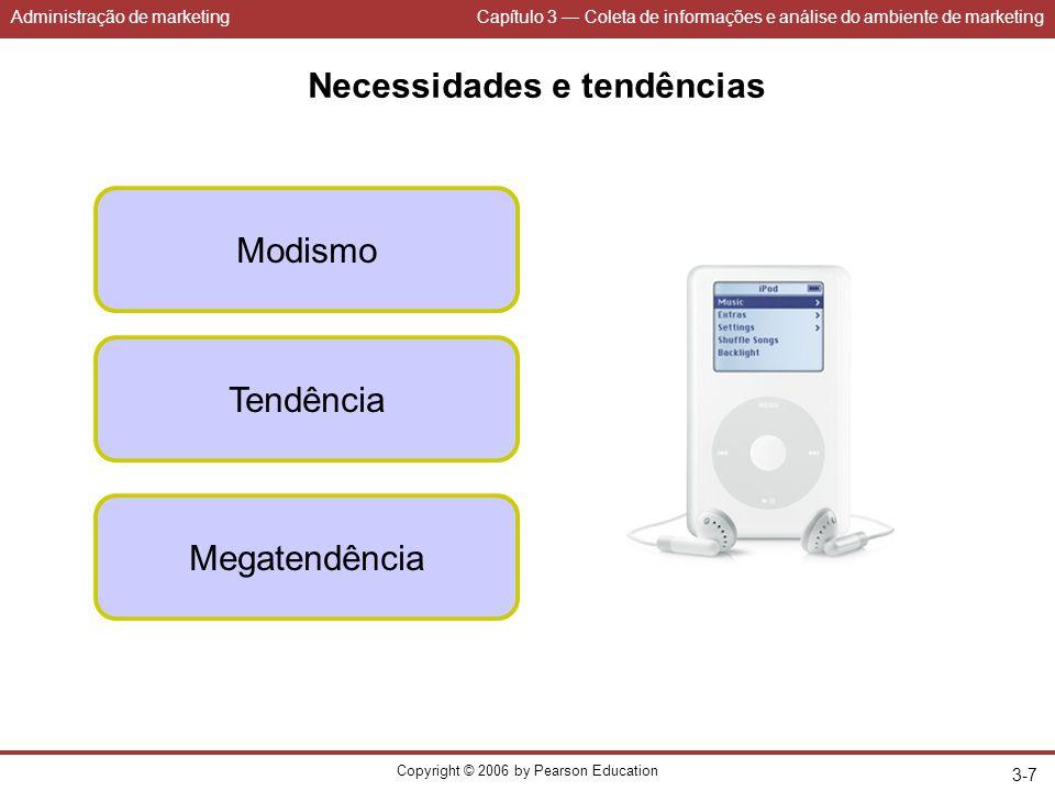 Administração de marketingCapítulo 3 — Coleta de informações e análise do ambiente de marketing Copyright © 2006 by Pearson Education 3-7 Necessidades