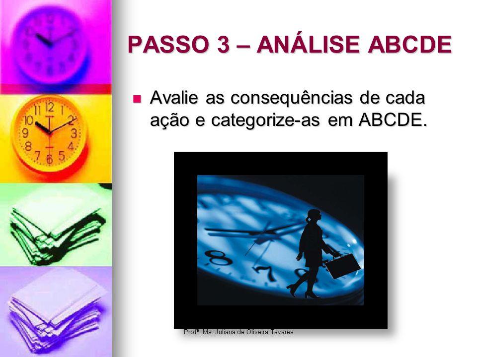 PASSO 3 – ANÁLISE ABCDE Avalie as consequências de cada ação e categorize-as em ABCDE. Avalie as consequências de cada ação e categorize-as em ABCDE.