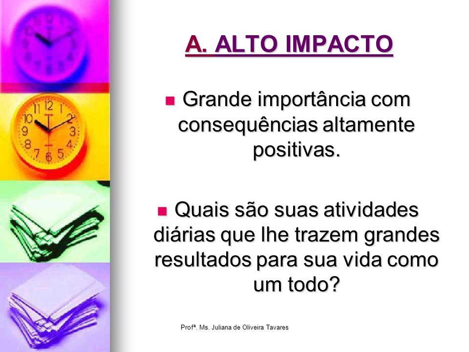 A. ALTO IMPACTO Grande importância com consequências altamente positivas. Grande importância com consequências altamente positivas. Quais são suas ati