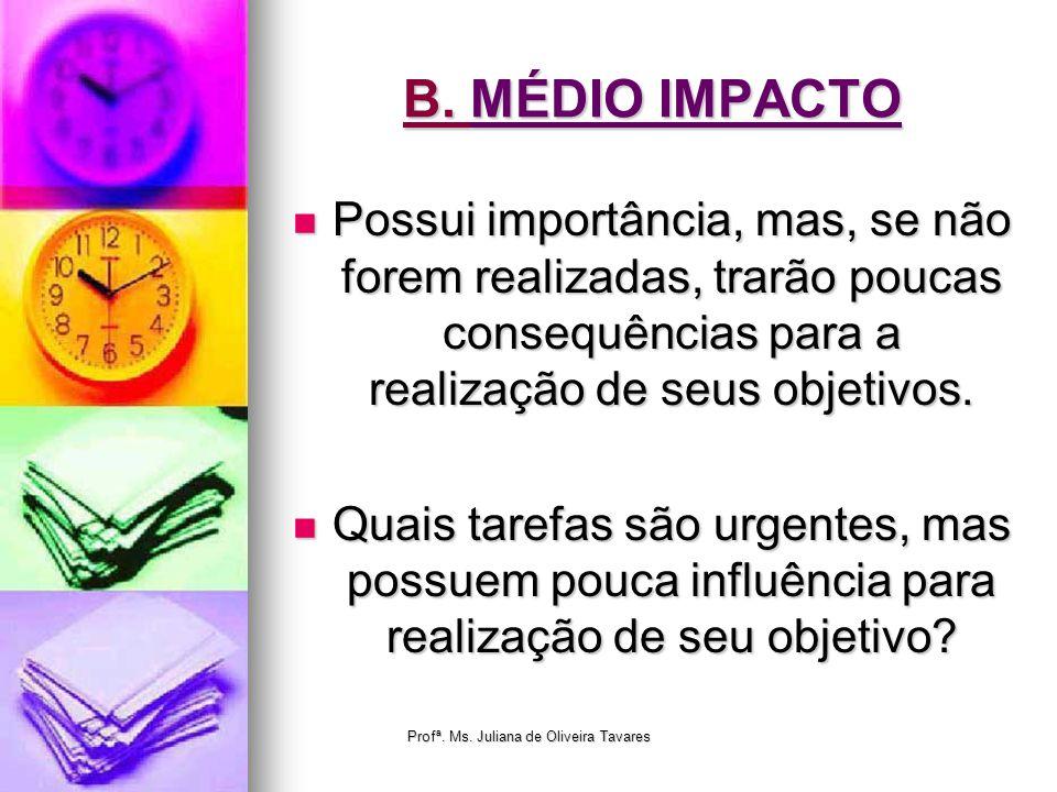 B. MÉDIO IMPACTO Possui importância, mas, se não forem realizadas, trarão poucas consequências para a realização de seus objetivos. Possui importância
