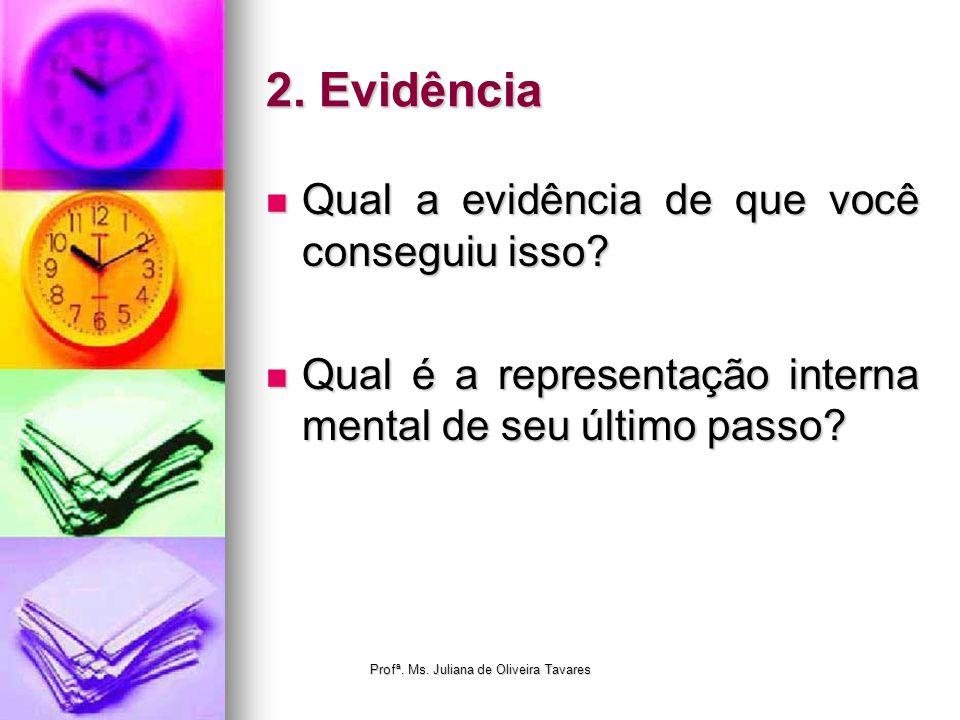 2. Evidência Qual a evidência de que você conseguiu isso? Qual a evidência de que você conseguiu isso? Qual é a representação interna mental de seu úl