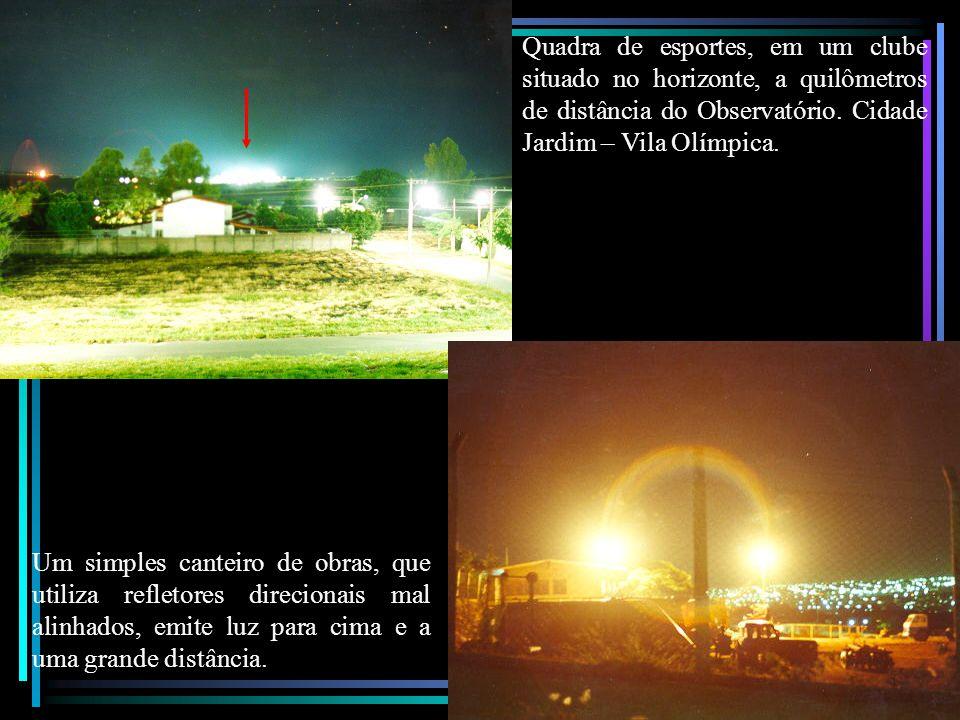 Quadra de esportes, em um clube situado no horizonte, a quilômetros de distância do Observatório.