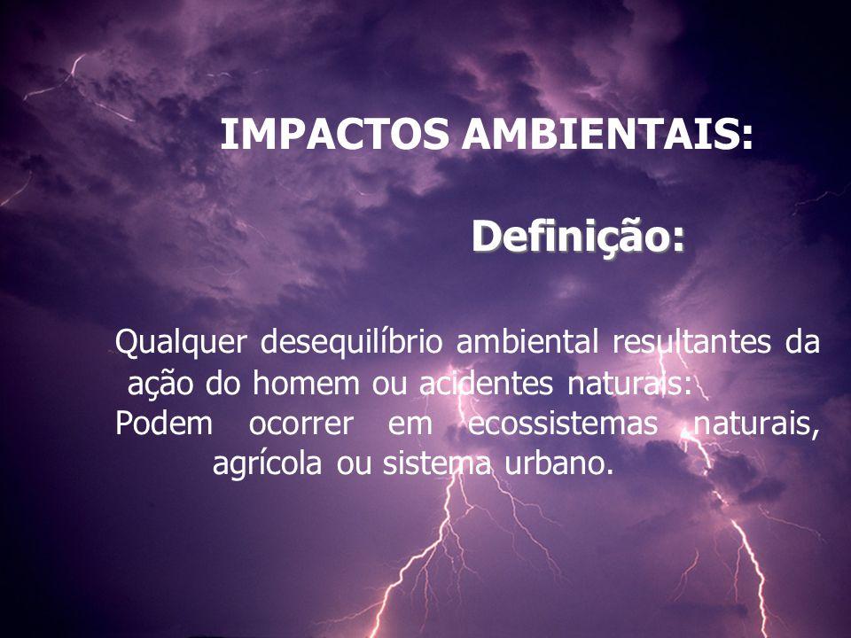 Definição: IMPACTOS AMBIENTAIS: Definição: Qualquer desequilíbrio ambiental resultantes da ação do homem ou acidentes naturais: Podem ocorrer em ecossistemas naturais, agrícola ou sistema urbano.