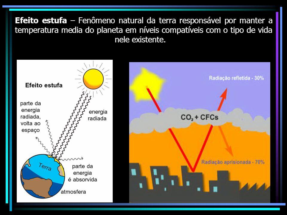 Efeito estufa – Fenômeno natural da terra responsável por manter a temperatura media do planeta em níveis compatíveis com o tipo de vida nele existente.