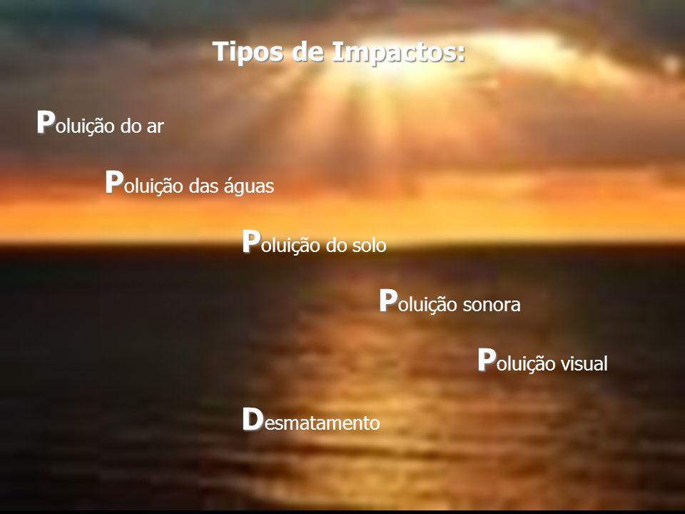 Tipos de Impactos: P P P P P D Tipos de Impactos: P oluição do ar P oluição das águas P oluição do solo P oluição sonora P oluição visual D esmatamento