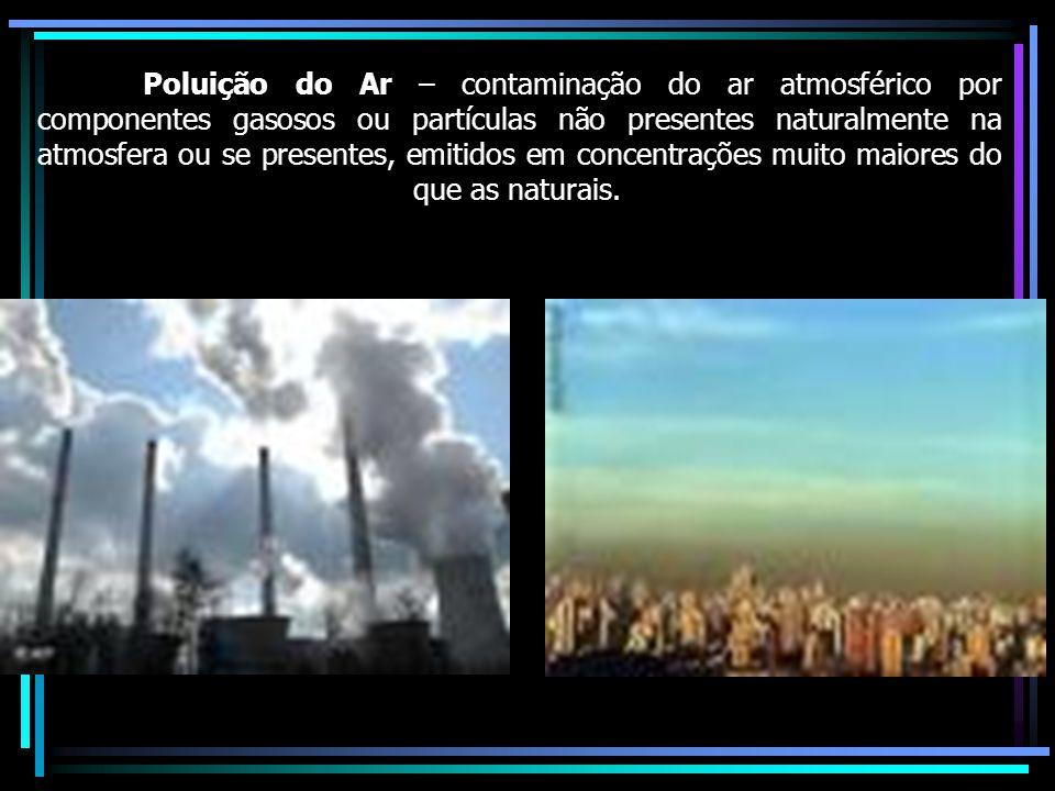 Poluição do Ar – contaminação do ar atmosférico por componentes gasosos ou partículas não presentes naturalmente na atmosfera ou se presentes, emitidos em concentrações muito maiores do que as naturais.