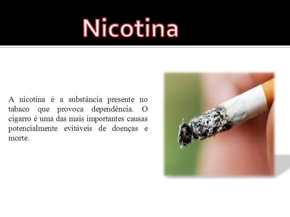 A nicotina é a substância presente no tabaco que provoca dependência.