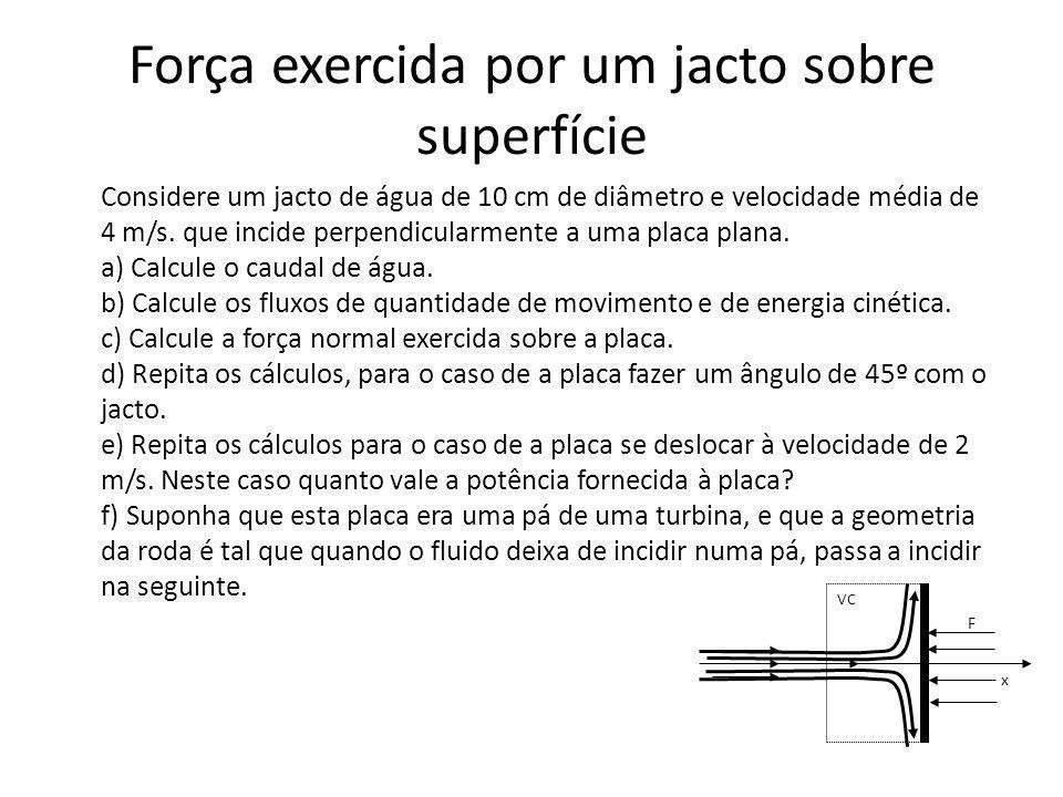 Força exercida por um jacto sobre superfície Considere um jacto de água de 10 cm de diâmetro e velocidade média de 4 m/s. que incide perpendicularment