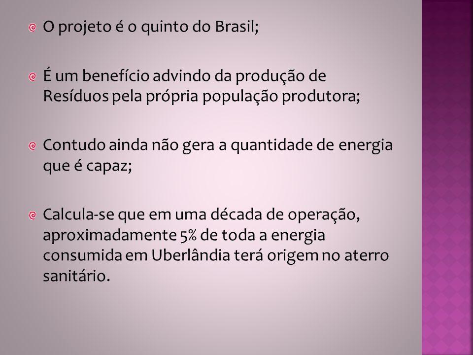O projeto é o quinto do Brasil; É um benefício advindo da produção de Resíduos pela própria população produtora; Contudo ainda não gera a quantidade d