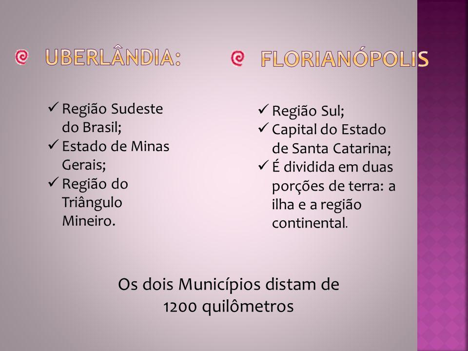 Região Sudeste do Brasil; Estado de Minas Gerais; Região do Triângulo Mineiro. Região Sul; Capital do Estado de Santa Catarina; É dividida em duas por