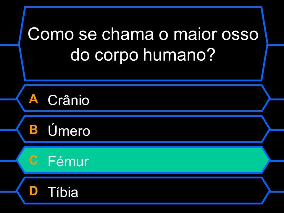 Como se chama o maior osso do corpo humano? A Crânio B Úmero C Fémur D Tíbia