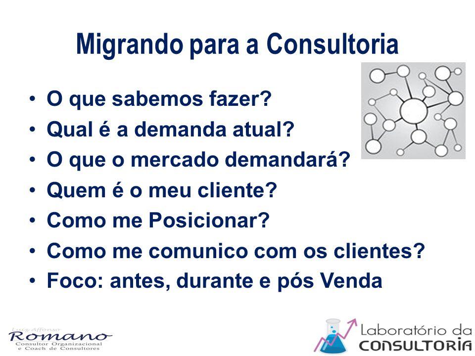 Migrando para a Consultoria O que sabemos fazer. Qual é a demanda atual.